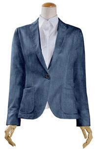S75SKJ872 ブルーシャンブレーツイルジャケット レディースジャケット