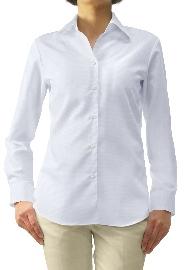 S72SKFV52 ヘリンボーンホワイト レディスオーダーベーシックシャツ