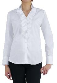 S73SKFV52 ヘリンボーンホワイトシャツ レディスオーダーデザインシャツ