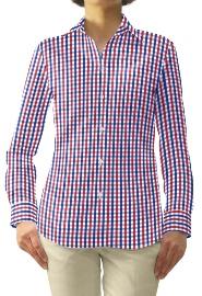S72SKFW91 ブルー×レッドブロックチェック レディスオーダーベーシックシャツ