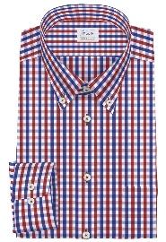 S71SKFW91 ブルー×レッドブロックチェック メンズオーダーシャツ