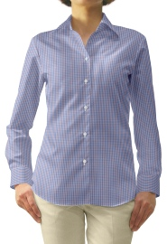 S72SKBW82 白地×ブルー×レッドマルチチェック レディスオーダーベーシックシャツ