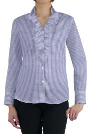 S73SKBW82 白地×ブルー×レッドマルチチェック レディスオーダーデザインシャツ